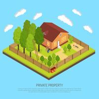 Privat egendom gräns staket isometrisk illustration vektor
