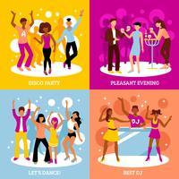 Disco Party Konzept Icons Set