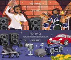 Rap-Musik-Banner gesetzt vektor