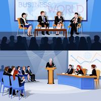 Konferenz Öffentliches Sprechen 2 Flache Banner vektor