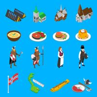 Norge Turistattraktioner Isometric Icons Collection
