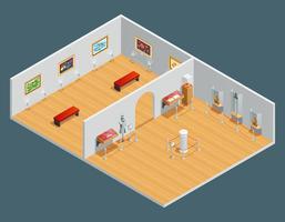 Isometrisk interiörillustration