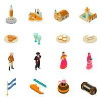 Argentinska turistiska isometriska symboler ikoner samling vektor