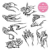 Hände, die schwarzes weißes Set waschen
