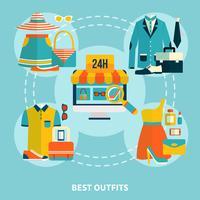 Kaufen Sie die besten Outfits Online-Runden-Kompositionen vektor