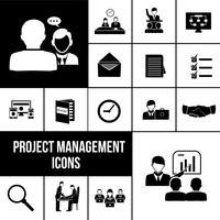 Projektledning ikoner svart uppsättning
