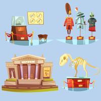 Flache Ikonen des Museum-Retro- Karikatur-2x2 eingestellt