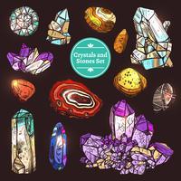 Set av ikoner kristaller stenar vektor