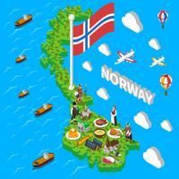 Norge Karta Turistiska symboler Isometrisk affisch vektor