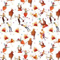 Zirkus-nahtloses dekoratives Retro Karikatur-Muster vektor