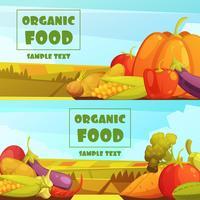 Biologische Lebensmittel 2 Retro Banner Set vektor
