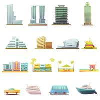 Miami-Transport-Landschaftselemente-Ikonen eingestellt