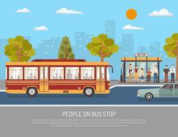Public Transport Bus Service Flat Poster vektor