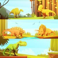 Dinosaur 3 Horisontell Retro Banners Collection vektor