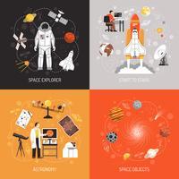 Astronomi 2x2 Designkoncept vektor