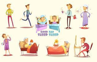 Bra och dåliga sömn ikoner Retro Cartoon Set vektor