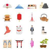 Japanische nationale Symbole flache Ikonen eingestellt
