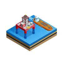 Ölindustrie Offshore-Plattform isometrisches Bild vektor
