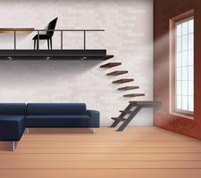Realistisk Loft Inredning Koncept vektor