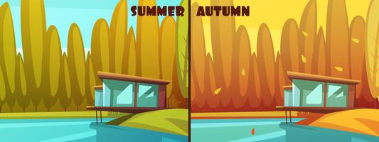 Natur-Sommer-Herbst-Retro- Karikatur-Satz