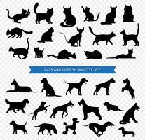 Hunde und Katzen Black Silhouette Set vektor