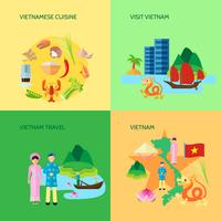 Vietnamesisk kultur 4 platta ikoner torget
