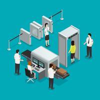 Flygplats Säkerhet Kontrollera Isometrisk Sammansättning Poster