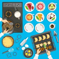 Confectioner Workplace Top View Set vektor