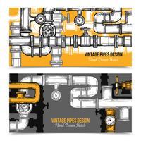 Sketch Pipes System Banner vektor