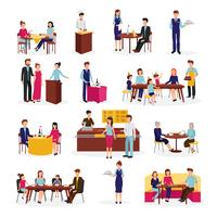Restaurang Människor Situationer Platta ikoner Set vektor