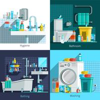 Konzept-Konzept der orthogonalen Hygiene-Ikonen 2x2