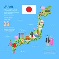 Reise-Japan-Führer-flaches Karten-Plakat