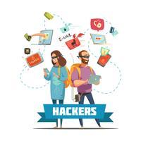 Hackers Criminals Cartoon Composition Poster