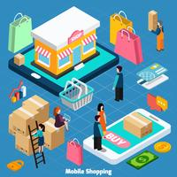 mobil shopping isometrisk koncept
