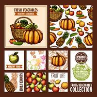 Frukt Och Grönsaker Kort vektor
