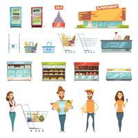 Leute in den Supermarkt-Karikatur-Ikonen eingestellt