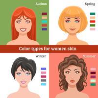 Frauen-Hauttypen eingestellt vektor