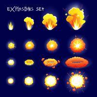 tecknad explosionsuppsättning vektor