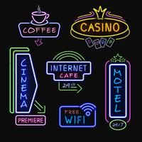 Neon Signboards Realistic Night Icons Collection vektor
