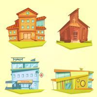 Gebäude-Cartoon-Set vektor