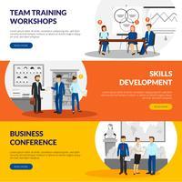 Business Training Consulting 3 Horisontella Banderoller vektor