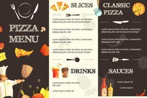 Pizza-Menü-flache Schablone für Restaurant