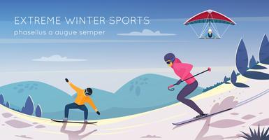Extremsport-flaches Zusammensetzungsförderungs-Plakat vektor
