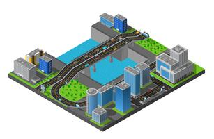 Isometric City Bridge Composition Poster