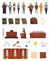 Gesetzesgerechtigkeit Retro Cartoon Icons Set