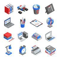 Büro-Werkzeuge isometrische Icons Set