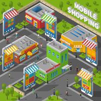 Mobil Shopping Isometrisk