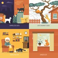 Rasse Katzen 2x2 Design-Konzept