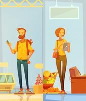 Glückliche Karikatur-Käufer-Vertikale-Fahnen
