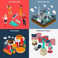 USA Turistkoncept ikoner Set